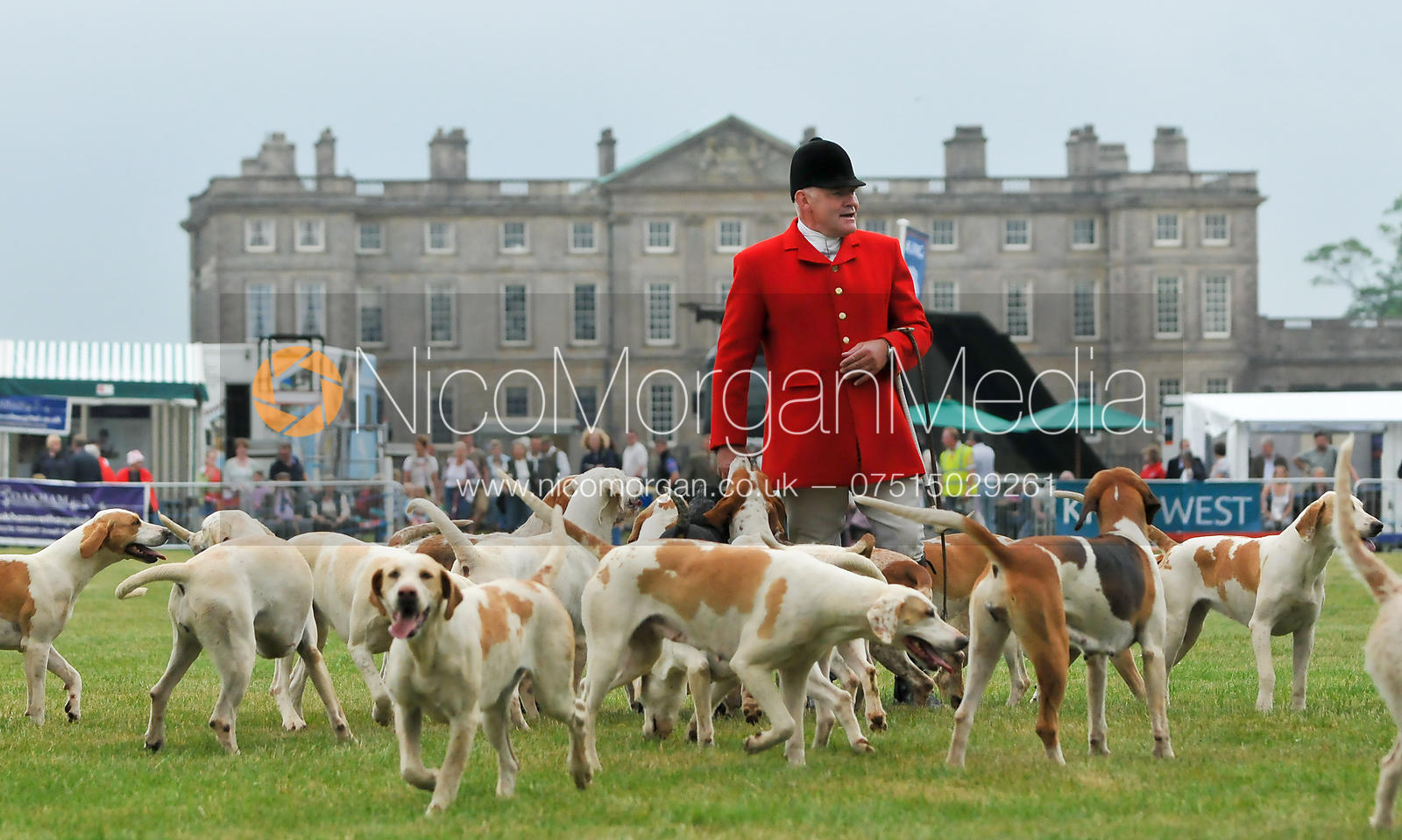 Neil Coleman with the Cottesmore Hounds in front of Burley House