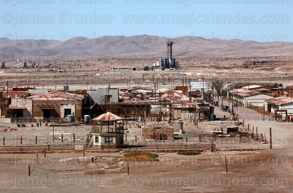 View over abandoned nitrate mining town of Humberstone, Region I, Chile