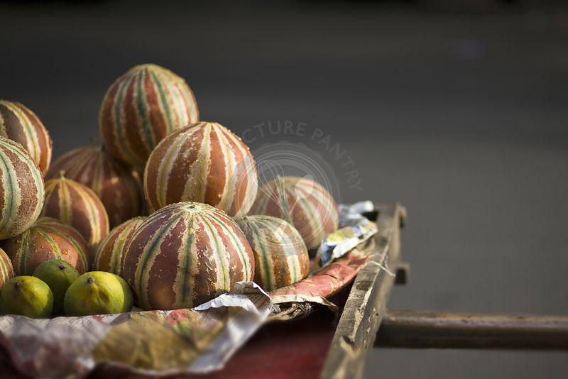 Melons sold on the Indian streets