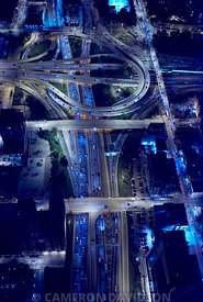 Aerial photo at night of the Dan Ryan Expressway in Chicago