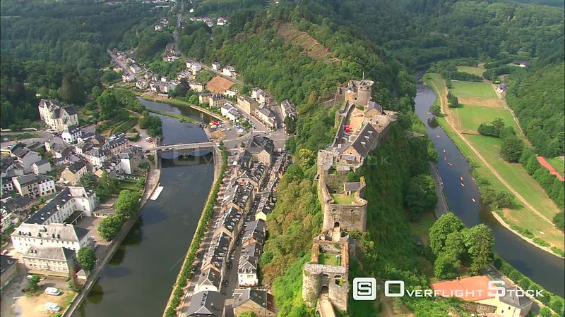 Aerial view of castle and town of Bouillon along the Semois River, belgium