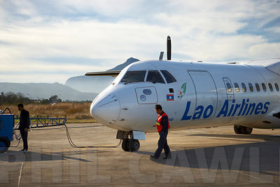 Lao Airlines ATR 72-202 refueling at Pakse