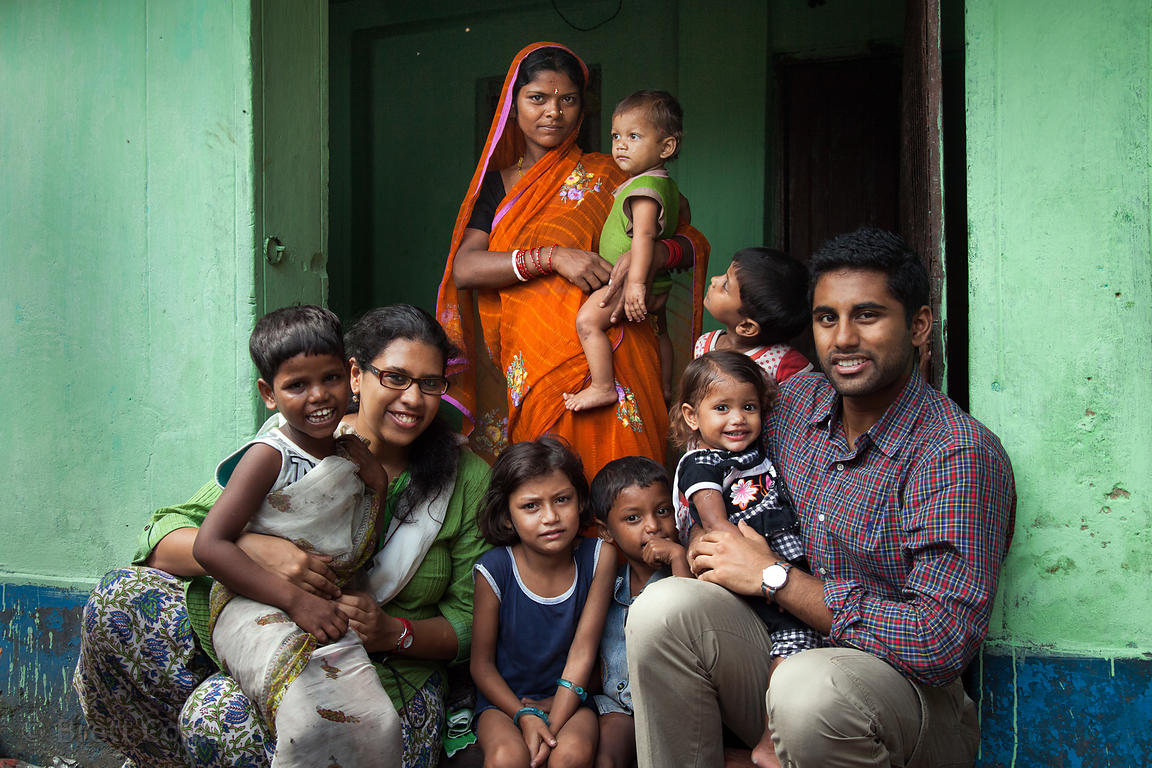NGO workers meet with children being treated for malnutrition in Howrah, India