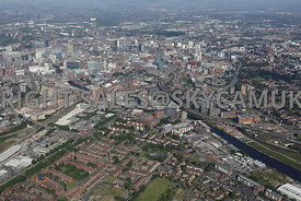 Wide angle view of the Western gateway of the city of Manchester shot from the west of Ordsall Lane and Regent road looking i...