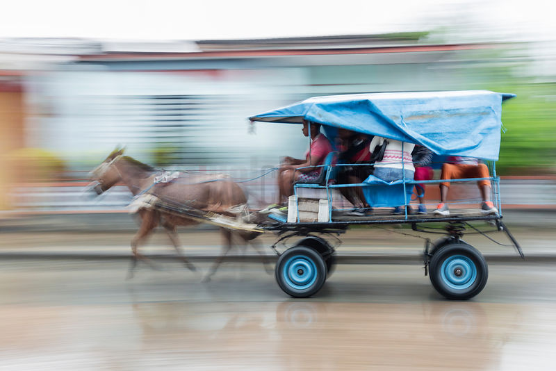 Motion Blur of a Horse-drawn Taxi