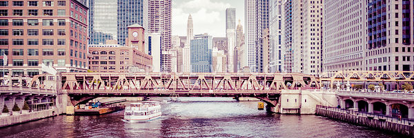Chicago River Skyline Vintage Panorama Picture