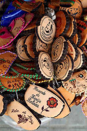 Decorated leather purses for sale in souvenir shop, Tarija, Bolivia