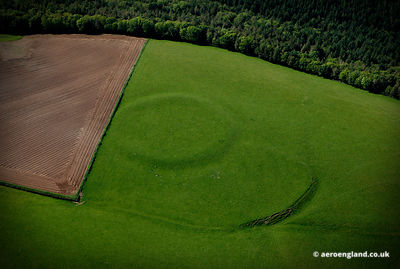 aerial photograph of ancient earthwork near St Germans   Cornwall   England UK