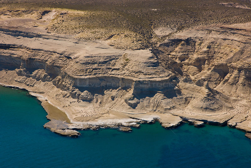 Aerial view of the coast of the Patagonian desert near Puerto Piramides, Valdes Peninsula, Patagonia, Argentina, Oct 2008