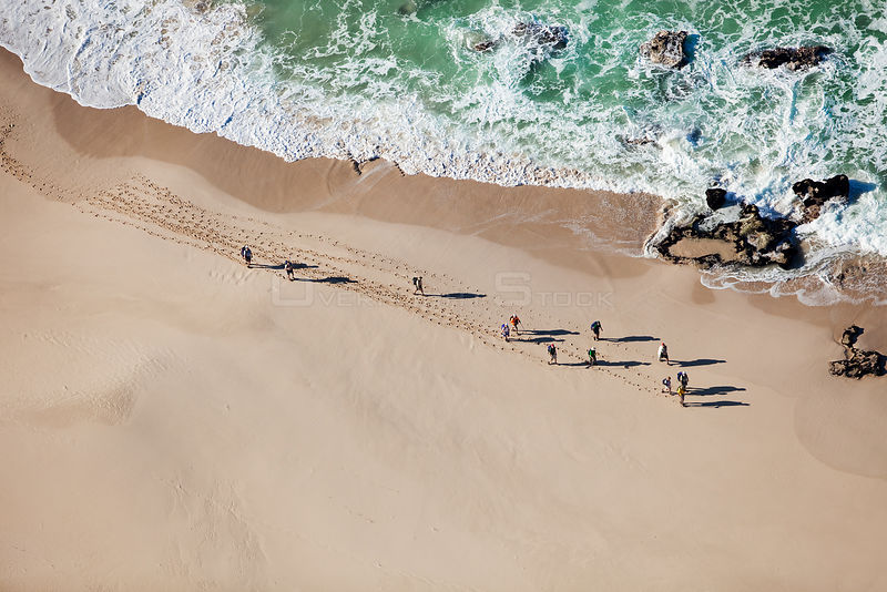 Aerial photograph of hikers on the whale trail, de Hoop Nature Reserve, Indian Ocean, South Africa, Western Cape Province, Au...