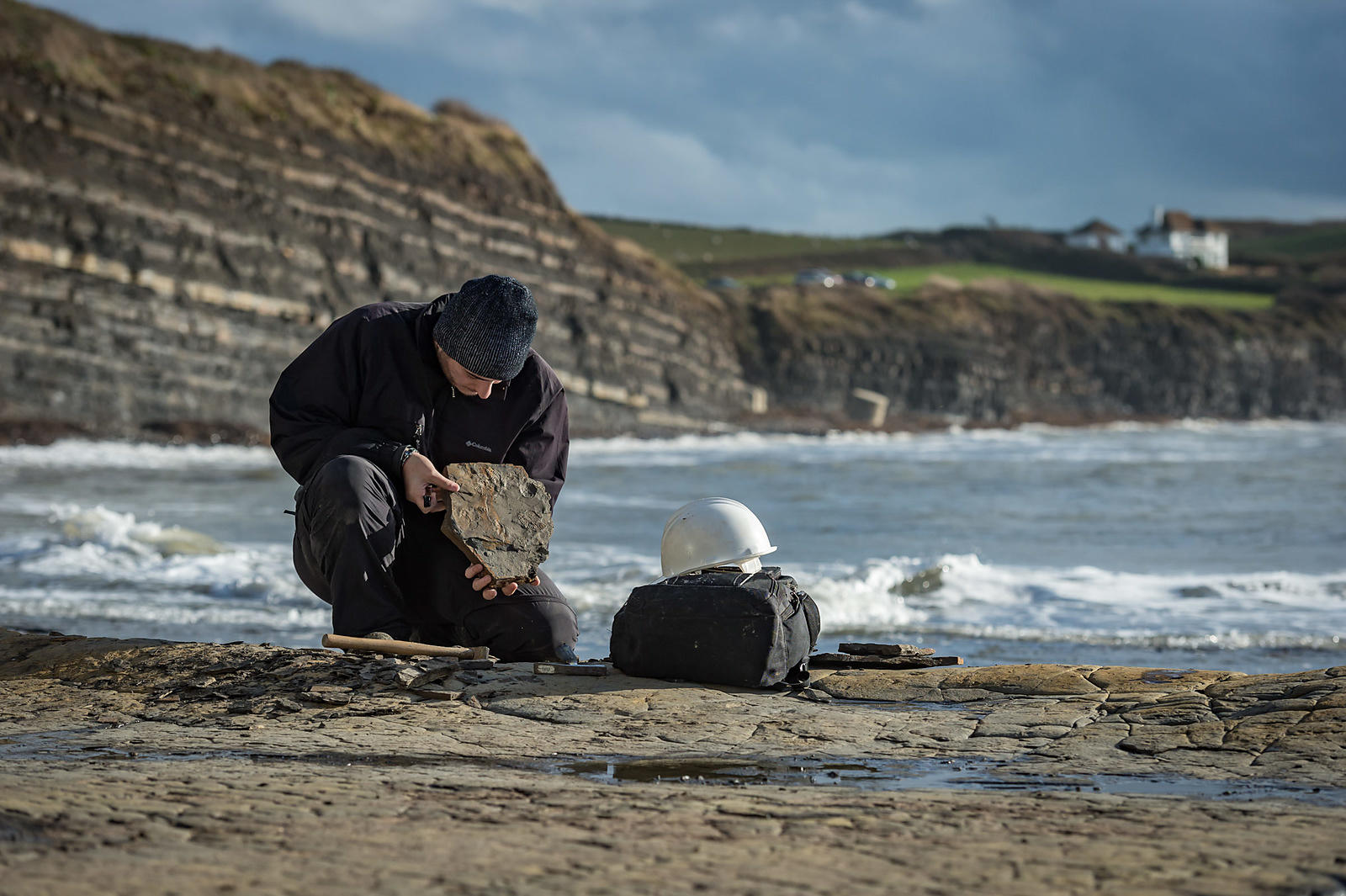 Palaeontology Student looking for Fossils on the Jurassic Coast, Dorset