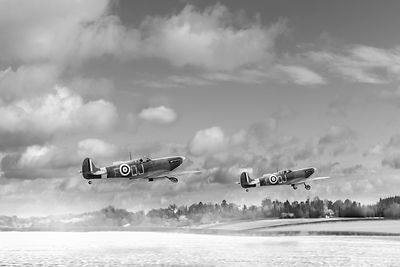 Winter ops Spitfires black and white version
