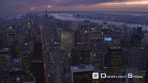 Looking south from above Midtown Manhattan at dusk.
