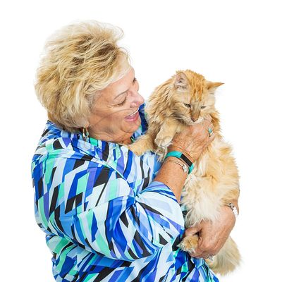 Happy Senior Woman Looking at Cat