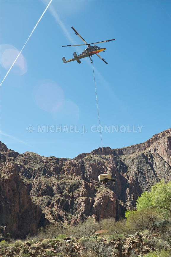 Helicopter Airdropping Heavy Equipment At Phantom Ranch-Grand Canyon