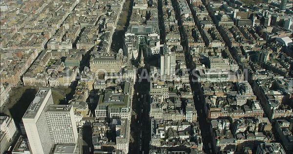 London Aerial Footage of Regent Street towards Portland Place.
