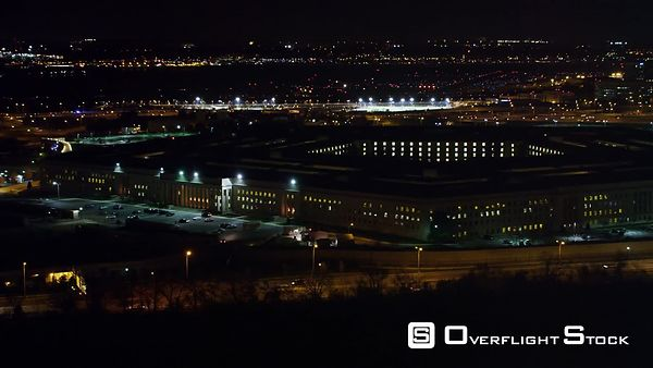 Passing the Pentagon at Night, Washington DC in Background.