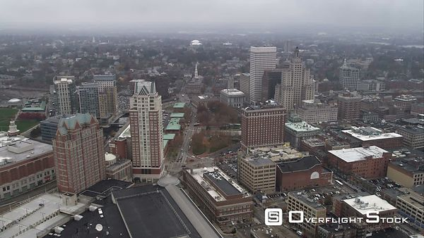 Orbiting Downtown Providence, Rhode Island. Shot in November