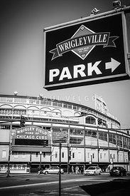 Wrigleyville Sign and Wrigley Field in Black and White