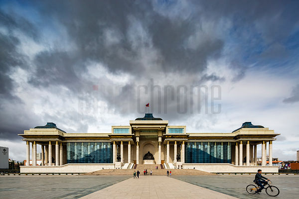 Main entrance of the Parliament of Mongolia, statue of Genghis Khan in foreground