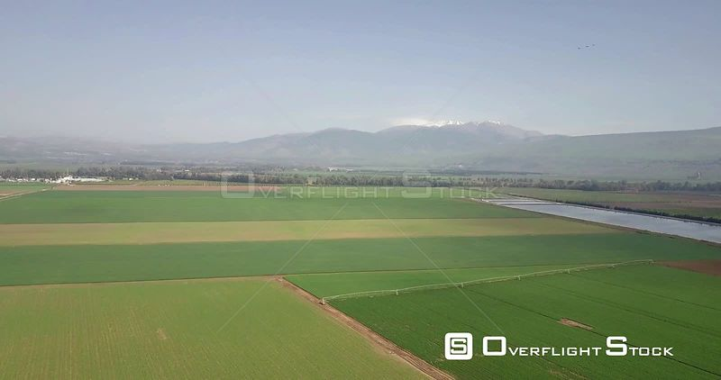 Flying over Hula Valley and Hermon Mountain Israel