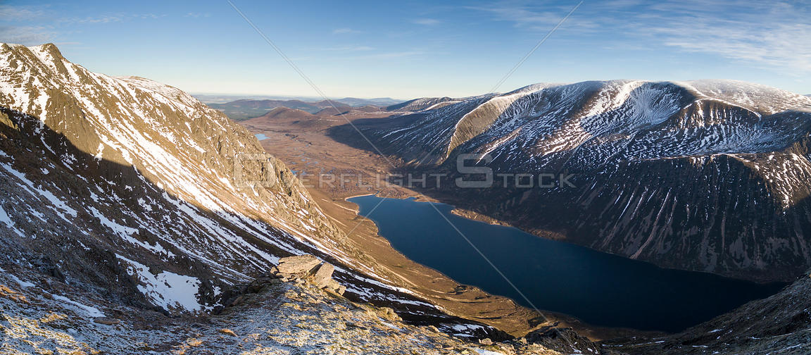 Aerial view of Loch Eanaich with Braeriach to the east, Cairngorms National Park, Scotland, UK, December 2016.