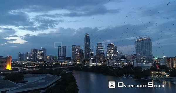 Bat Egress From Congress Avenue Bridge Drone Video Austin Texas USA