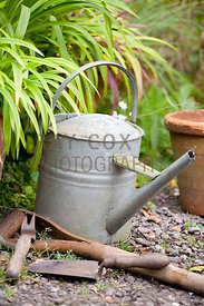 Watering can and old tools