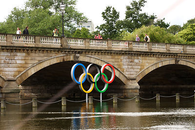 Olympic Rings Standing in The Serpentine Lake