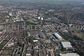 Oldham wide angle aerial photograph of waste recycling centre Arkwright Street and Lansdowne road and Middleton road area of ...