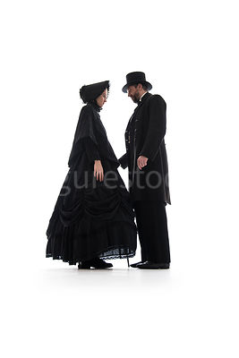A Victorian couple holding hands – shot from low level.