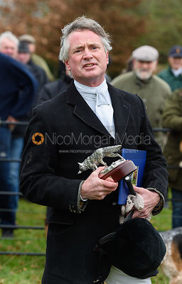 Presentation to retiring Chairman Nick Wright at the meet. The Cottesmore Hunt at Bleak House 18/12