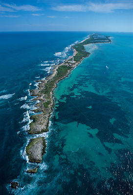 Aerial view of Contoy island from the north, Contoy Island National Park, Mesoamerican Reef System, near Cancun, Caribbean Se...