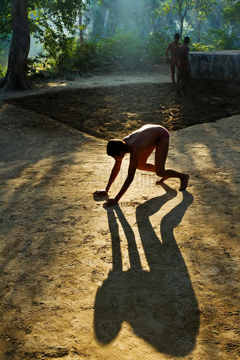 Traditional Kushti Wrestler Exercising