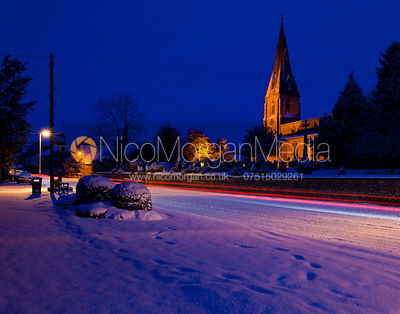 Lights trails and snow in Cottesmore, Rutland