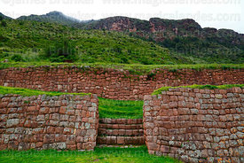 Stone walls in Inca site of Huchuy Qosqo, Cusco Region, Peru