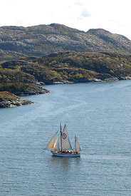 1901 Colin Archer rescue boat 'Stavanger' sailing near Rorvik in the Vikna archipelago, Norway, May 2009.