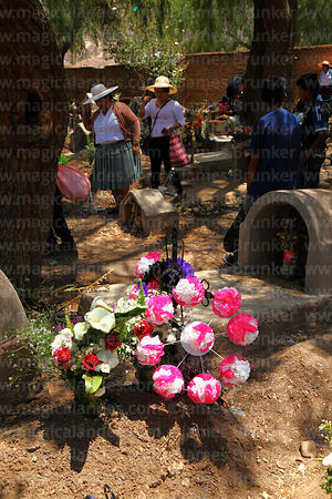 Floral tributes (both real and paper flowers) next to grave in cemetery for Todos Santos festival, Sipe Sipe, Cochabamba Depa...