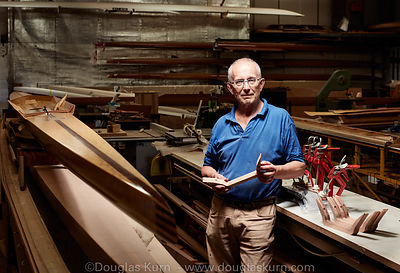 Portrait of Carl Douglas in his workshop in Laleham Reach