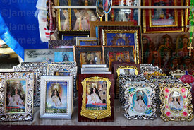 Pictures of Virgen de Chaguaya for sale on stall outside Sanctuary, Chaguaya, Tarija Department, Bolivia