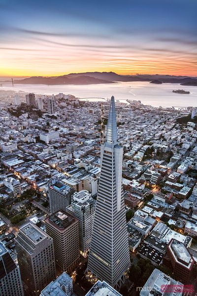 Aerial of downtown and Transamerica pyramid, San Francisco, USA