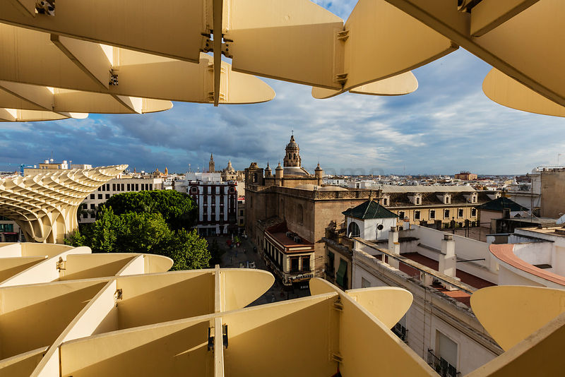 Espacio Metropol Parasol Framing the Seville Cathedral