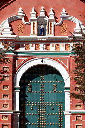 Detail of Copacabana church entrance facade, Potosí, Bolivia