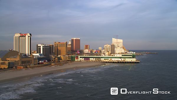 Aerial view of Atlantic City boardwalk.