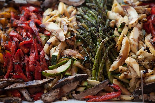 Close-up of roasted mixed vegetables