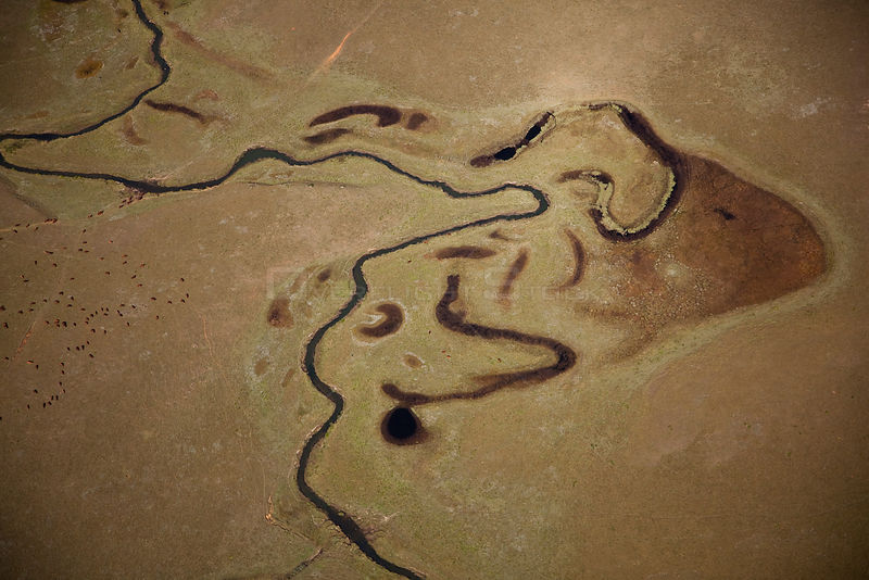 Aerial photo of Oxbow lakes, KwaZulu Natal, South Africa, June 2010