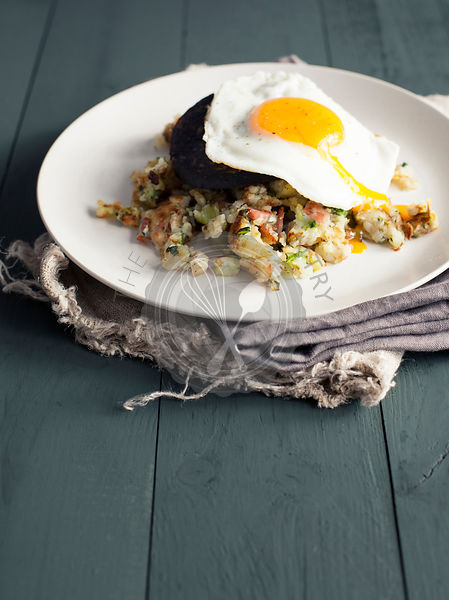 Bubble and Squeak with black pudding and fried egg
