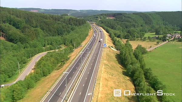 Following a highway through the Ardenne Forest, Belgium