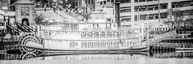 Peoria Riverboat Panoramic Black and White Photo