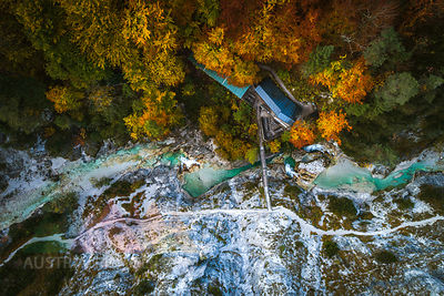 Austria, Lower Austria, Aerial view of a snack station in the Oetschergraeben in autumn